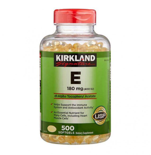 Sản phẩm viên uống Vitamin E 400 IU Kirkland của Mỹ (nắp đỏ)