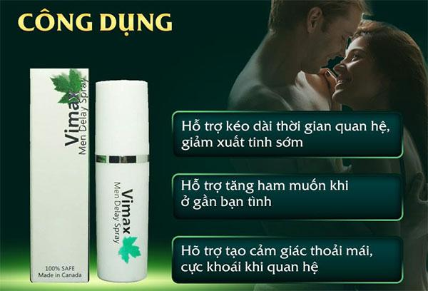 Công dụng Xịt chống xuất tinh sớm Vimax Men Delay Spray 15ml cho nam giới