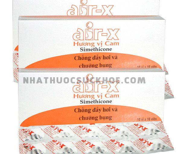 Thành phầnThuốc Air-X: Thuốc tiêu hóa chống đầy hơi và chướng bụng vị cam