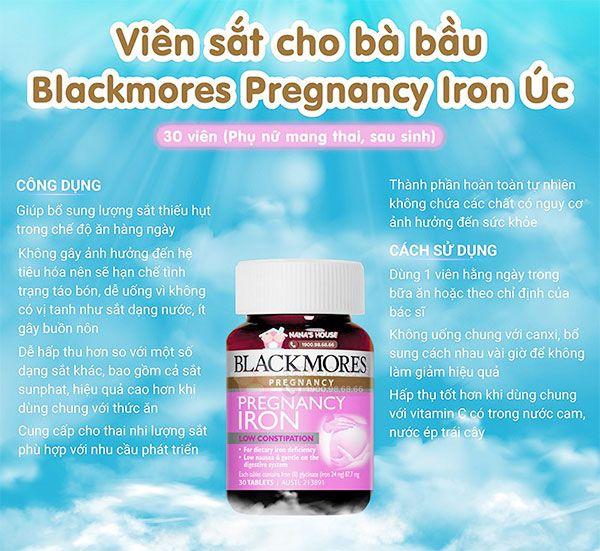 Ưu điểm của viên sắt cho bà bầu Blackmores Pregnancy Iron