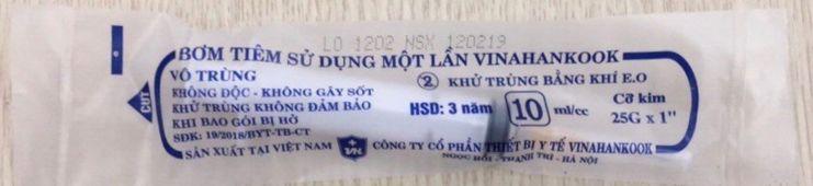Bơm tiêm sử dụng một lần Vinahankook 10ml/cc
