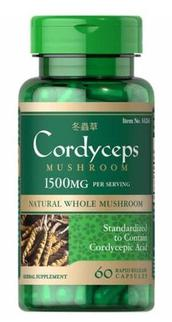 Đông Trùng Hạ Thảo Cordyceps Mushroom Puritan's Pride 1500mg 60 viên