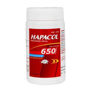 Thuốc giảm đau hạ sốt Hapacol 650mg (Chai 100 viên)