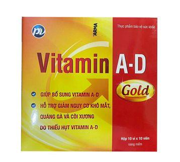 Vitamin A-D Dược phẩm Phúc Vinh (1 vỉ x 10 viên)