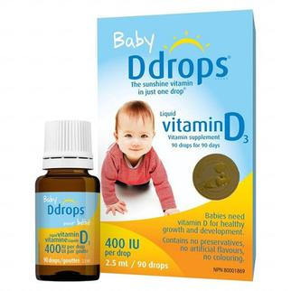 Baby Ddrops Vitamin D3 cho trẻ sơ sinh 90 giọt của Mỹ