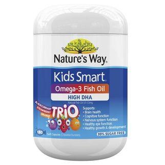 Kẹo dẻo DHA cho bé Nature's Way Kids Smart Omega 3 Trio High DHA