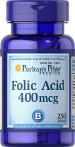 Viên uống hỗ trợ bệnh thiếu máu Puritan's Pride Folic Acid 400mg